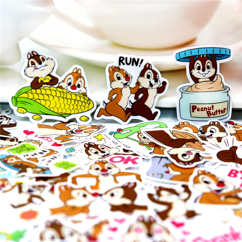 40pcs Cute  Colorful Squirrel Brothers Stickers Hand Account Around Line Expression Decoration Cartoon Transparent Material