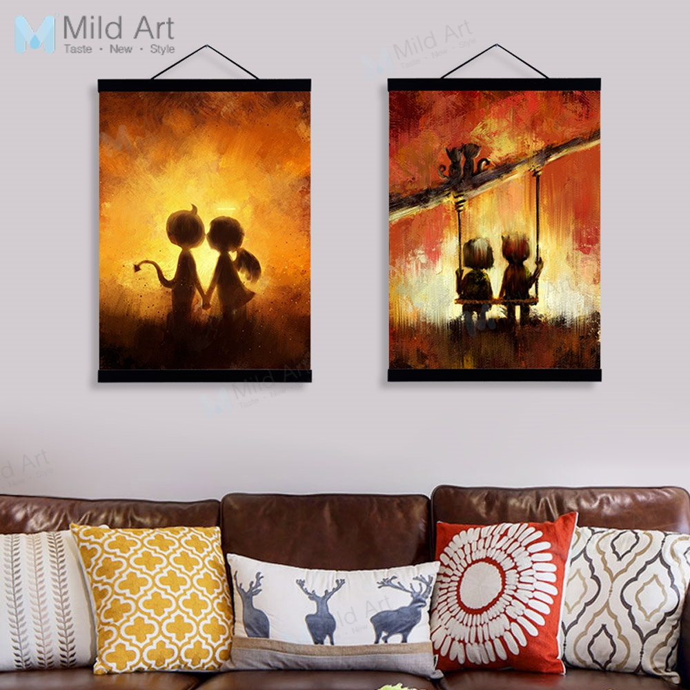 Us 8 36 47 Off Aliexpress Com Buy Kawaii Vintage Angels Demons Love Wooden Framed Painting And Print Modern Scroll Wall Art Pictures Home Decor