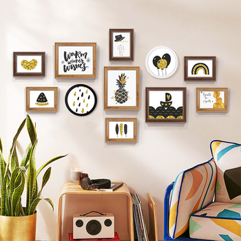 Multi-frame Retro Picture Frame Combination Set Wall Hanging Family Collage Photo Frame Pendant Home Decorative Photo Holder