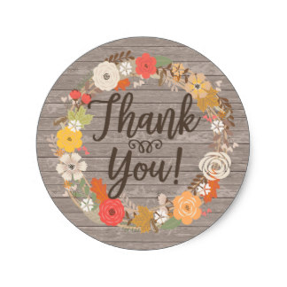 3 8cm Rustic Fall Flowers Thank You Classic Round Sticker Stickers Thanks Stickers Thank Yousticker Round Aliexpress