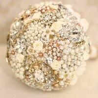 Шампанское Цветочные Свадебные брошь букет кристалл Перл Свадебные цветы Букет сшитое Невесты букеты