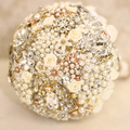 Champagne Floral Bridal brooch bouquet  crystal Pearl flowers Wedding Bouquet custom made  Bride 's bouquets