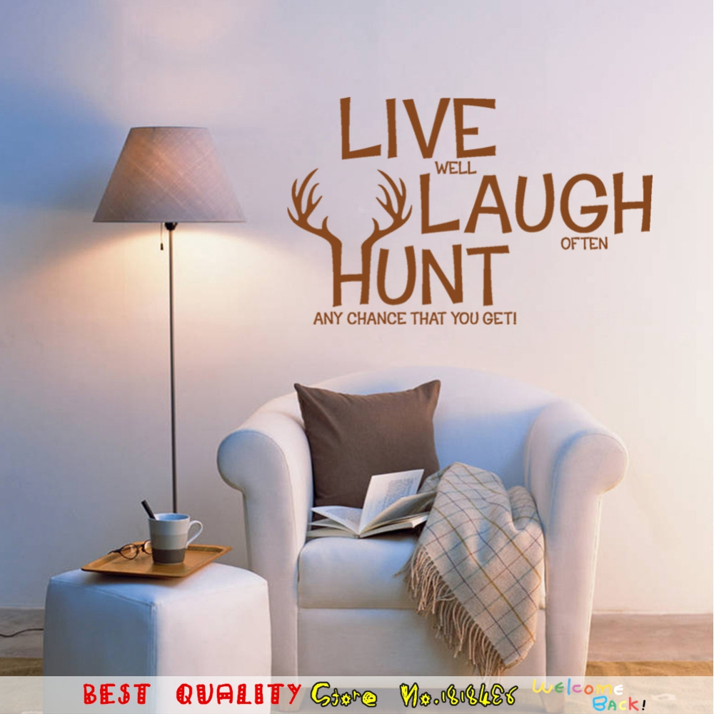 online get cheap christmas family quotes aliexpress com alibaba live laugh hunt deer quotes christmas gifts wall sticker supplies home decals wall paper art sticker family living room bedroom