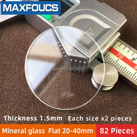 Table glass mineral glass Flat thickness 1.5 mm diameter 20 mm ~ 40mm Crystal Transparent , Each size x 2 , A total of 82 pi