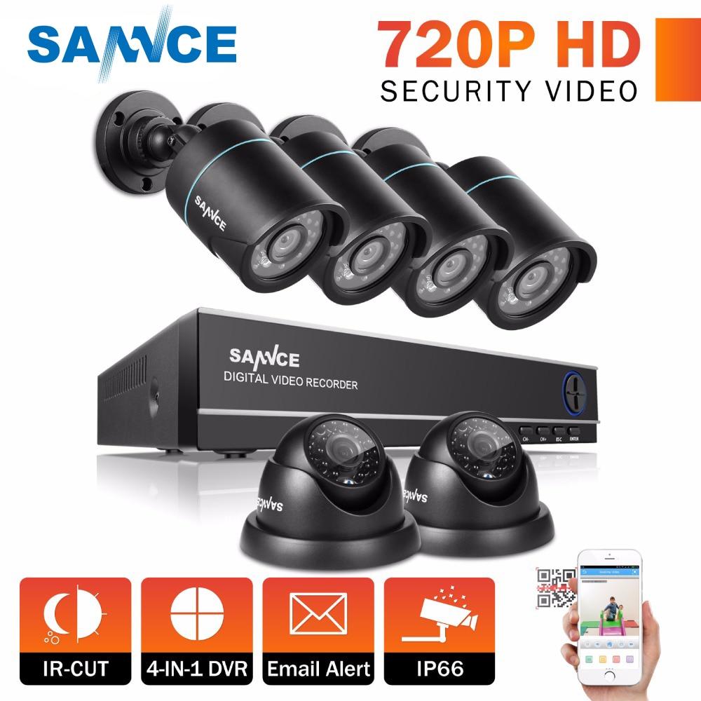 SANNCE 8CH CCTV System 1080P HDMI Output 6PCS 720P TVI Home Security CCTV Cameras IR Night Waterproof video Surveillance DVR Kit цена