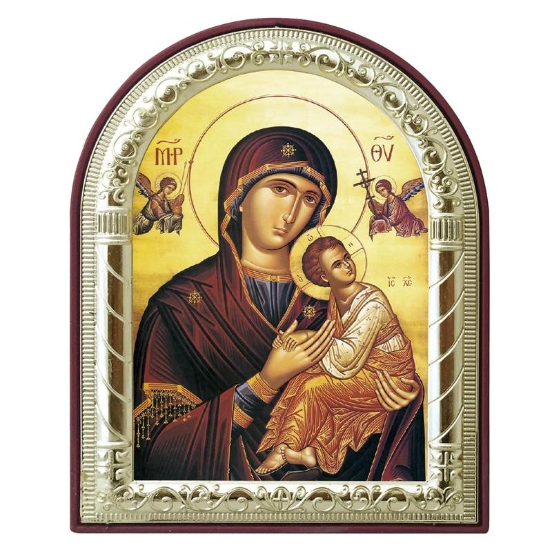pielāgojama grieķu pareizticīgo ikona Jaunava Marija un eņģelis attēlo sudraba metāla zeltu uz plastmasas reliģiskās mākslas kristīgās dāvanas