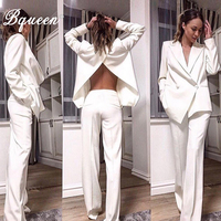 Bqueen 2019 Fashion V Neck Sexy Blazers Formal Women Elegant Skinny Hollow Out Split Black White Two Pieces Pant Suits Set