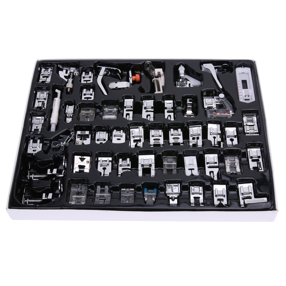 52 PCS / सेट सिलाई उपकरण फुट घरेलू सिलाई मशीन फुट फीट स्नैप पर प्रेसर फुट सिंगर सिलाई मशीन उपयोगी सिलाई सहारा