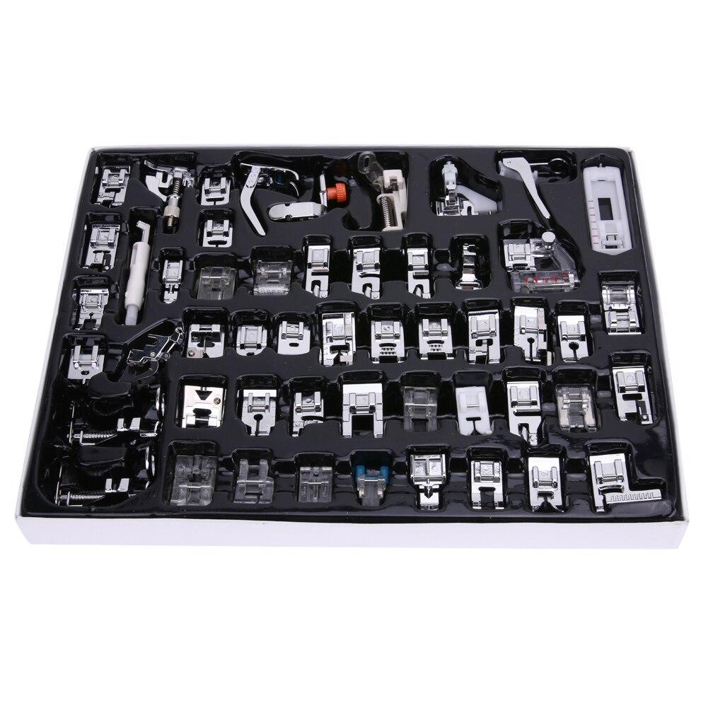 52 pcs/ensemble d'outils de Couture Pied Machine À Coudre Domestique Pied Pieds Snap Sur Pied Presseur de Machine À Coudre De Chanteur Utile Couture Accessoires