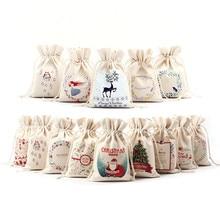 16x23,5 см, Рождественская сумка для конфет, холщовые подарочные сумки, Санта, олень, лось, на год, Рождество, Nevidad, лучшие подарки для детей, вечерние, для мероприятий