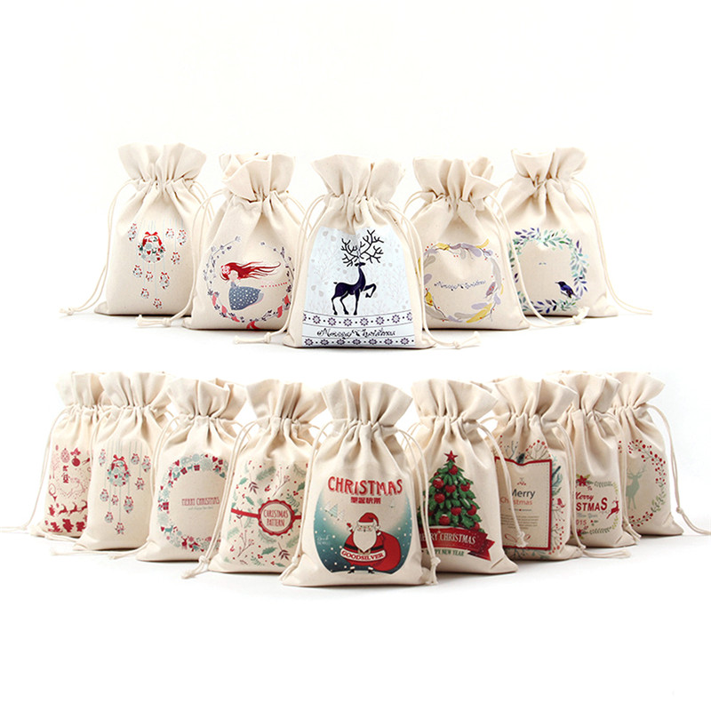 16x23.5cm Christmas Candy Bag Canvas Gift Bags Santa Deer Elk Ride New Year Xmas Nevidad Best Gifts For Kids Event Party Decor