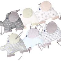 Baby Bedding Creative Pillow Fresh Embroidered Printed Cotton Elephant Cushion Crib Cradle Protector 6 Piece Set