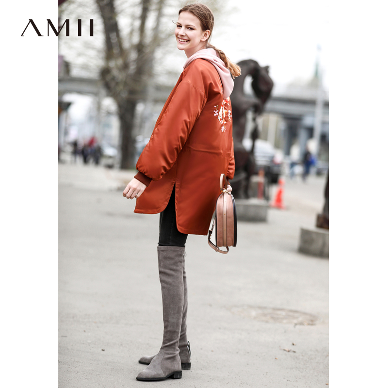 Amii Causal Women   Parkas   Winter 2018 Japan Style Embroidery Fish Thick Warm Female Long Zipper Jackets Coat Basketball Jackets