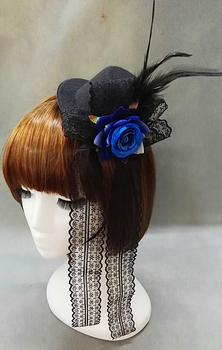 Halloween Lady Mini Top Hat Black With Red/Blue Rose Feathers Fancy Dress Lolita Hats