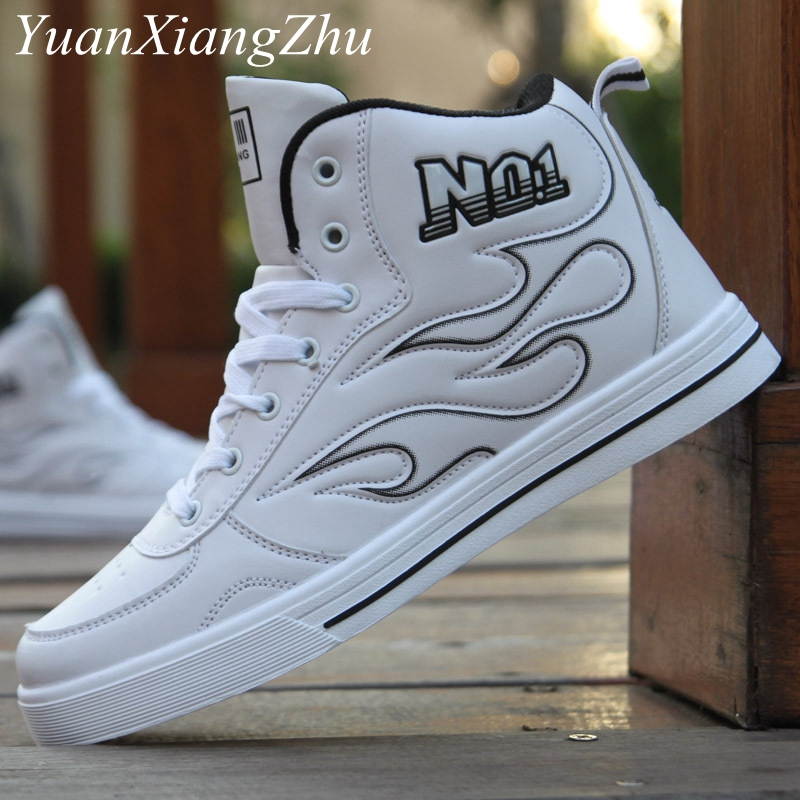 Fashion Men Casual Shoes Hip-hop High Help Men Shoes 2018 New Lace-Up Casual Ankle Boots Comfortable Superstar White Male Shoes new help in basketball shoes hip hop sports running shoes