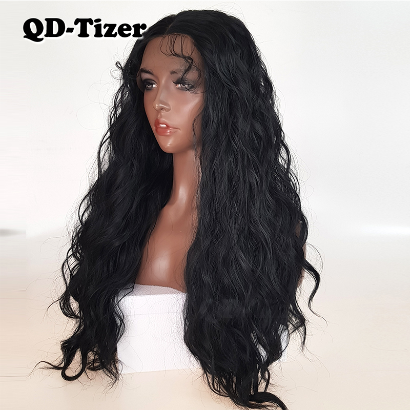 Image 3 - QD Tizer Natural Black Loose Wave Synthetic Front Lace Wig Resistant Hair Full Density  Baby Hair For Black Women-in Synthetic Lace Wigs from Hair Extensions & Wigs