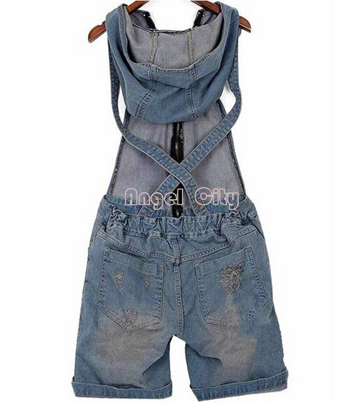 2018 Hole Denim Overalls Women's Jean   Jumpsuits   Short Pants Washed Jeans Denim Casual Rompers 4 Sizes
