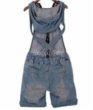2018 agujero Denim overoles mujeres Jean monos pantalones cortos lavados Jeans Casual monos 4 tamaños