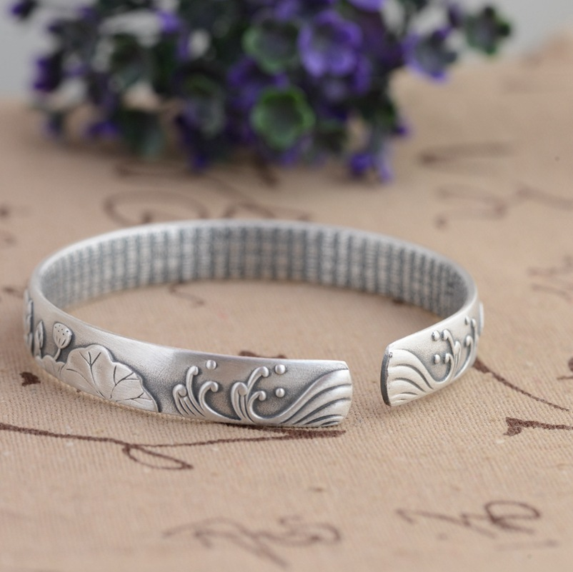 HFANCYW Pure 990 Silver Antique Craft Female Lotus Flowers Bloom Rich Bracelet Buddhist Heart Sutra Thai Silver Bangle Best Gift nehzy lotus sutra 990 silver bracelet bracelet tibetan buddhist scriptures language female hand jewelry wholesale bracelet