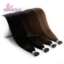 K.S парики Remy Предварительно скрепленные человеческие трессы прямые я наконечник fusion волосы 25 шт/упаковка 20 ''28''