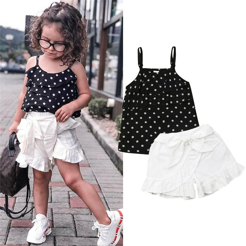 Cute Summer Baby Kid Girl Toddler Tank Top Vest+Shorts Pants Outfits Clothes Set