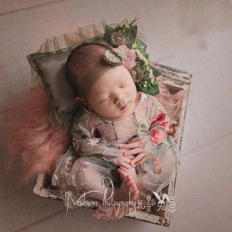 Nouveau-né photographie accessoires bébé bandeau sen fée brodé dentelle bébé costume vêtements coiffure bébé photo
