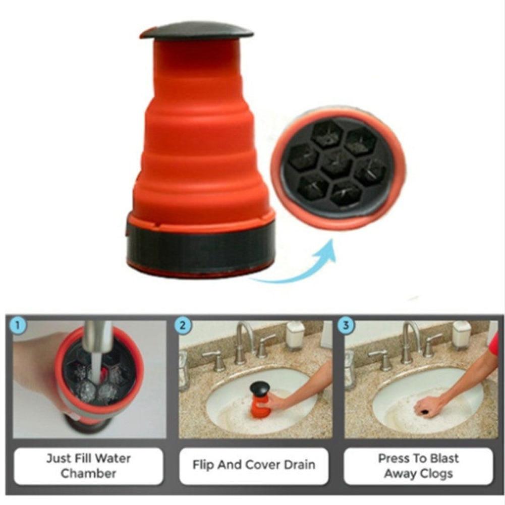 Bomba de drenaje de energía de aire Manual de alta presión para baño, fregadero de cocina, desatascador de tubería