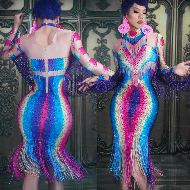 Women Rhinestone Dress Sexy Stage Dance Costume Tassel Rave Outfit For Singers Nightclub Dj Gogo Performance Clothing DC2432