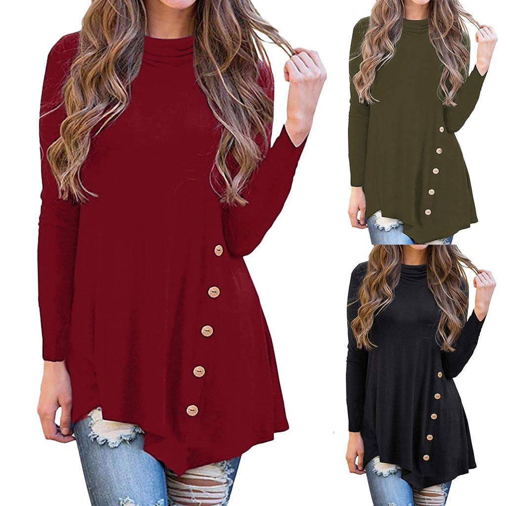 Women's irregular long sleeve button turtleneck asymmetrical tunic tops camiseta transparente mujer womens t shirt tops