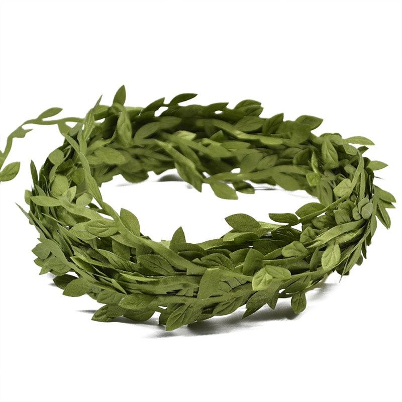 10 Meter Silk Leaf-Shaped Handmake Artificial green Leaves For Wedding Decoration DIY Wreath Gift Scrapbooking Craft Fake Flower 3