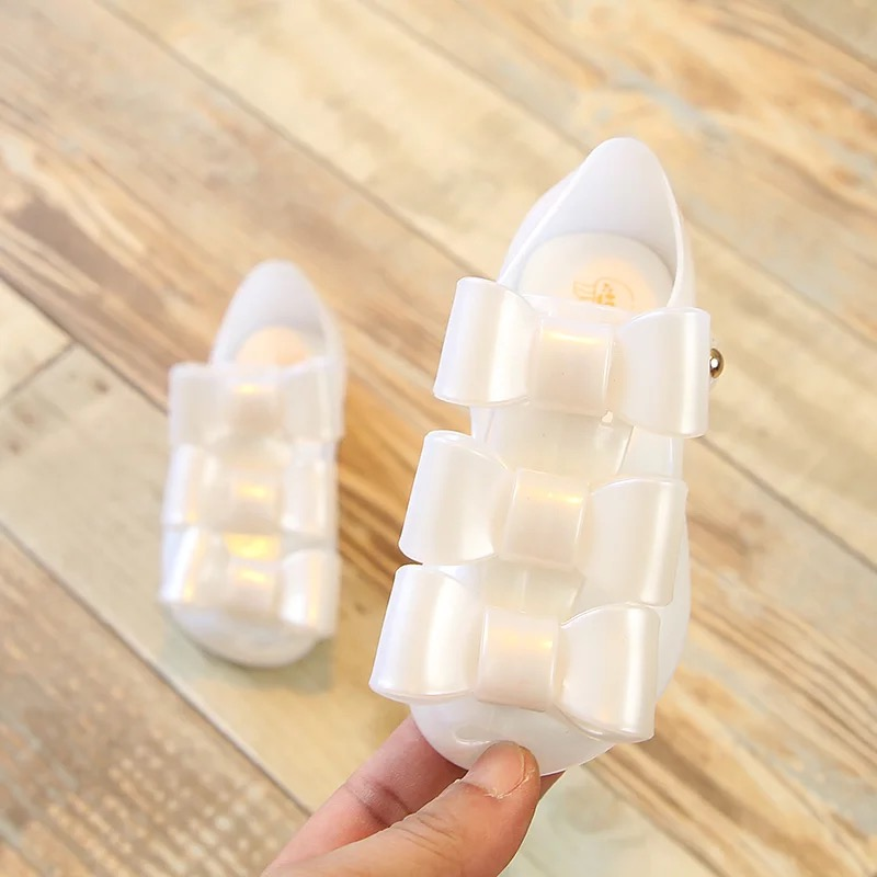 2018 spring Mini Melissa Girls Princess Shoes children jelly Sandals Bow soft Shoes Baby ...
