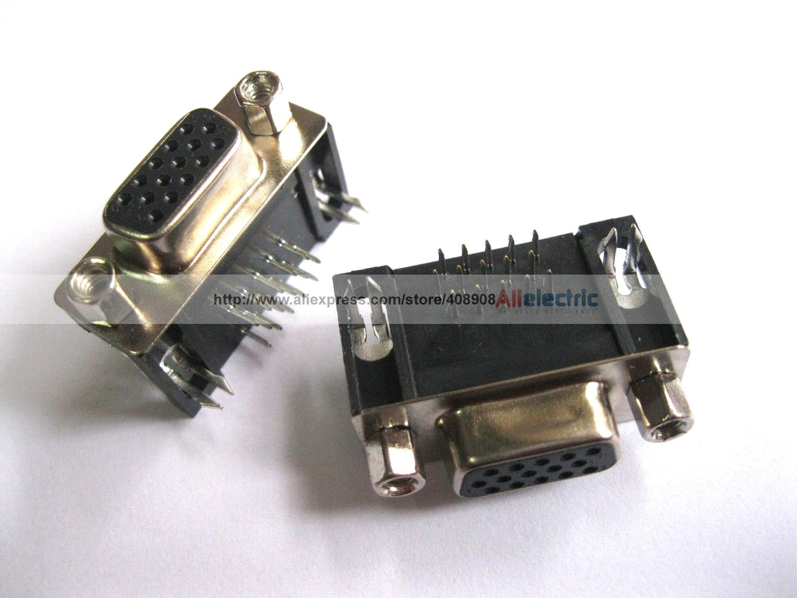 цена на 24 Pcs D Sub 15 Pin Female Connector Right Angle 3 Rows