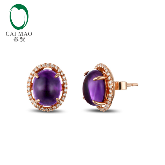 Caimao 14k Gold Natural 5 80ct Cabochon Cut Purple Amethyst Diamond Earrings