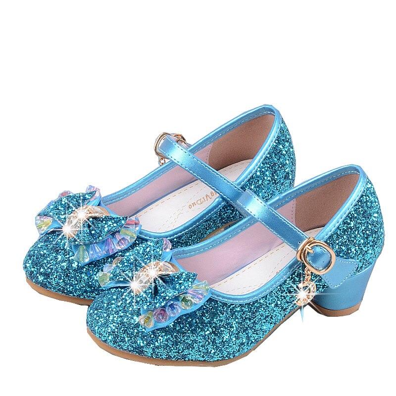 Neue Mädchen Kinder Kinder Pailletten mit hohen absätzen Kleid Schuhe Für Teens Mädchen Latin Bühne Schuh Dance Party Und Hochzeit prinzessin Schuhe