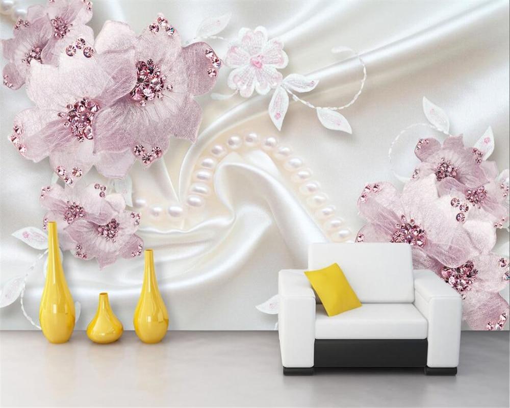 beibehang custom wallpaper luxury diamond flower 3d jewelry tv