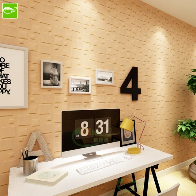 60x60cm XPE 3d leather wallpaper Brick Grid Modern Leather Wall ...