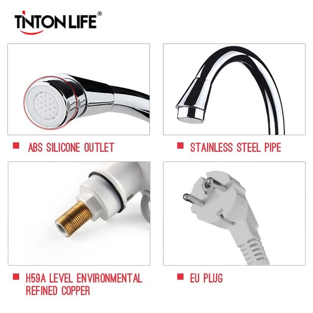 TINTONLIFE EU Plug Tankless Instant Faucet Water Heater Instant Water Heater Tap Kitchen Hot Water Crane LED Digital 2