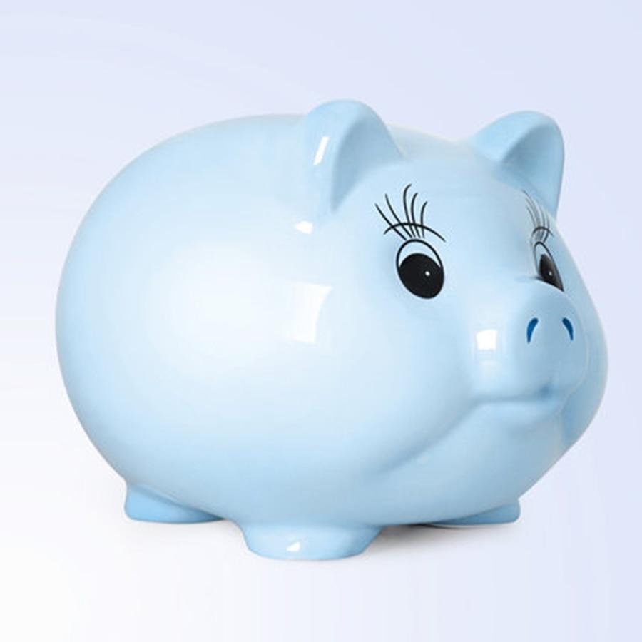Tirelire en céramique tirelire rose cochon blanc bleu dessin animé tirelire pour enfants économiser cochon Alcancias boîtes de petite caisse M5B002