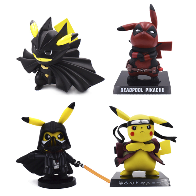 5eef91948 5 Style Pikachu Cosplay Naruto Deadpool Darth Vader Cartoon Action Figure  PVC Toys Collection Figures For