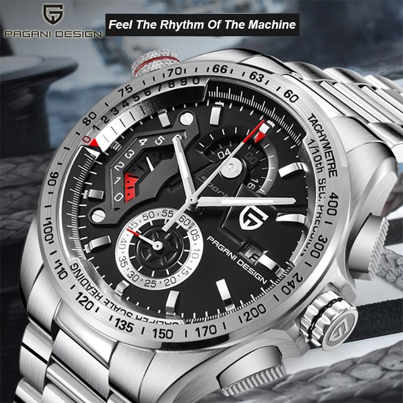 رجل الساعات باجاني تصميم أعلى الفاخرة العلامة التجارية أزياء ووتش الرجال للماء الفولاذ المقاوم للصدأ الكوارتز الرياضة توقيت Reloj هومبر-في ساعات الكوارتز من ساعات اليد على  مجموعة 1