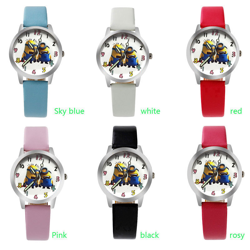 ot03 Hot Selling Cheap cartoon watch Leather Children Kid's Watch  Cartoon Despicable me minions relogio masculino Sport Watch joyrox minions pattern children watch 2017 hot despicable me cartoon leather strap quartz wristwatch boys girls kids clock