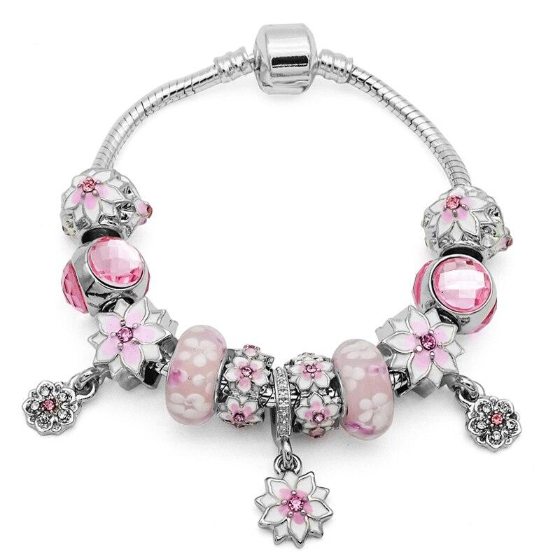 2018 Nieuwkomers Roze Bloem Kralen past Europese Pan Armbanden & Bangles Voor Vrouwen Sieraden Fashion Gift berloques