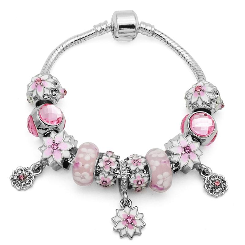 2019 New Arrivals Pink Flower Beads Fits European Pan