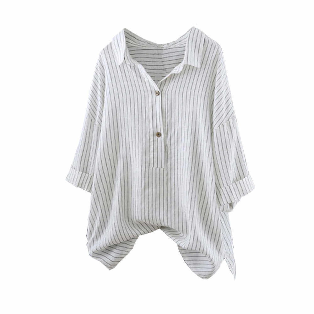 a9b73c4c Women Button Up Pullover Striped Top Shirt Plus Size Tunic Blouse 3/4  Sleeve Female