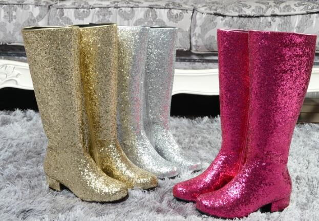 woman bling bling knee high boots sequins boots night club knight boots  star models wedding woman f18087c1e76d