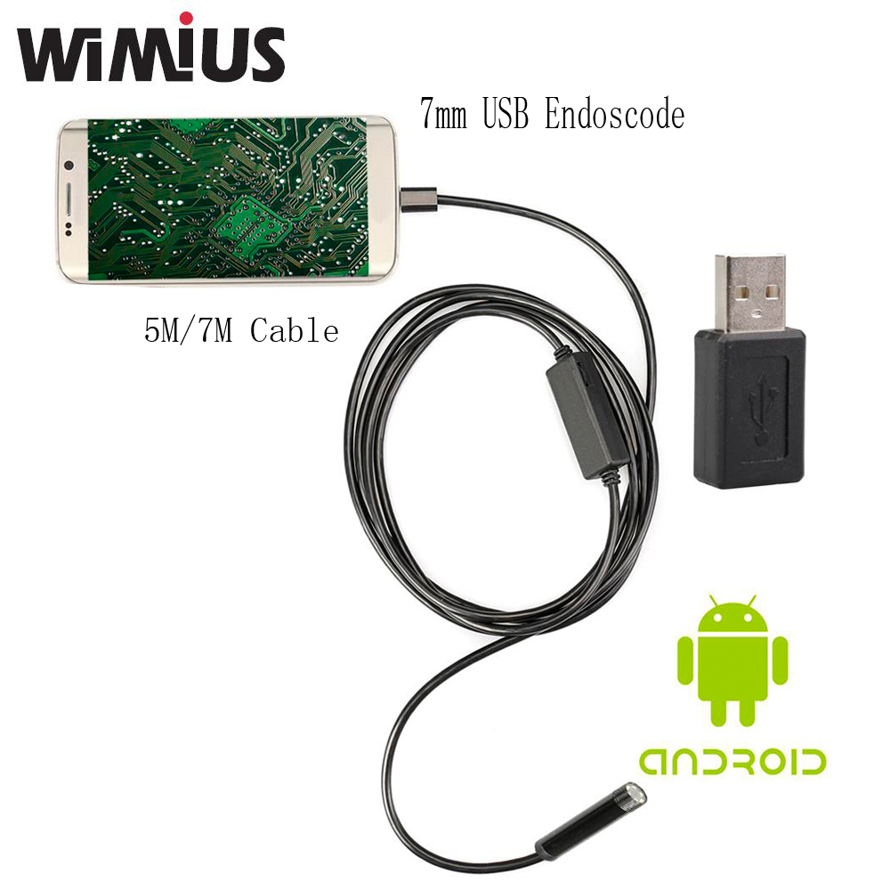 Wimius 7mm font b Android b font Endoscope USB Cable Focus Camera 5M 7M Waterproof Full