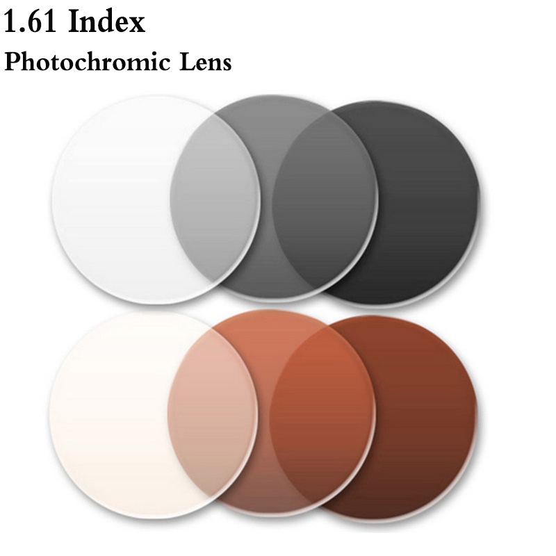 1.61 Indice Unique Vision Asphérique Photochromique Objectif CR-39 Prescription Myopie Presbytie Lunettes Lentille Anti-Rayonnement RS142