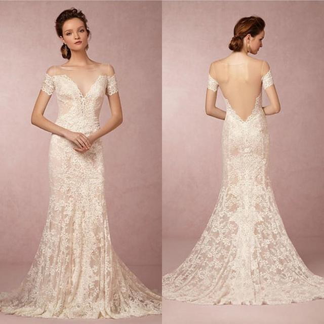 6ec0b716cea9 2015 Bride Vintage Wedding Dresses Mermaid Sheer Bateau Neck Bridal Gowns  with Illusion Back Short Sleeves Lace Appliques Train