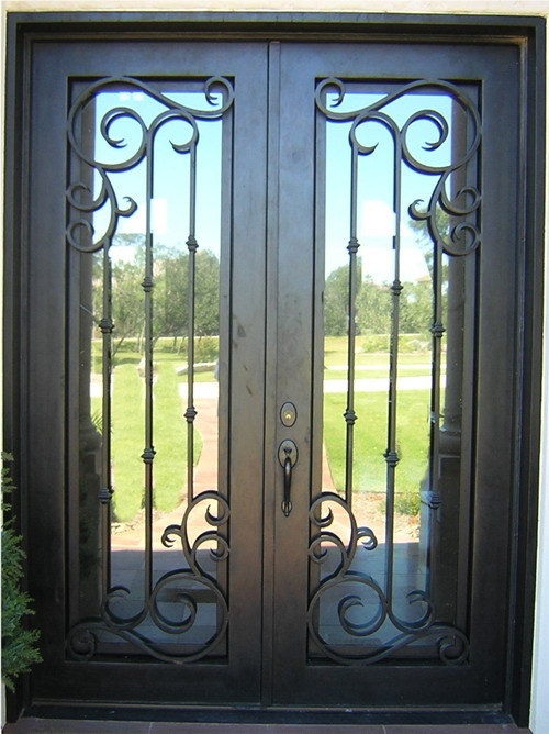 Classical double wrought iron doors interior doors decor - Interior decorative wrought iron gates ...