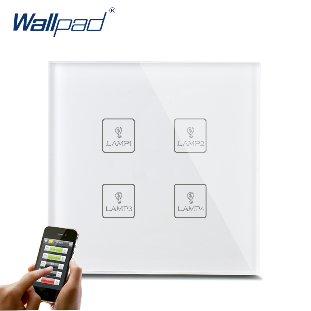 Smart WIFI 4 Gang Switch New Design Wallpad White Crystal Glass 4 Gang Phone Wireless APP Remote WIFI Touch Control Light Switch 118 us norm 1 gang crystal glass black wifi light switch wallpad wireless remote control wall touch light switch free shipping